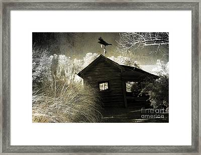 Surreal Gothic Infrared Old Building With Raven Framed Print