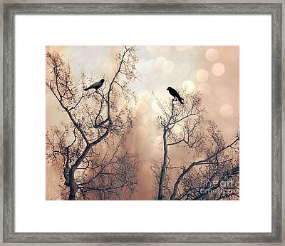 Surreal Gothic Nature Ravens Trees - Surreal Fantasy Dreamy Trees Nature Raven Crows Trees  Framed Print by Kathy Fornal