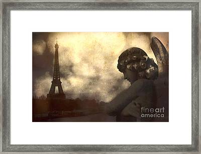 Surreal Gothic Paris Eiffel Tower With Angel Statue Montage Framed Print by Kathy Fornal