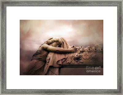 Surreal Gothic Sad Angel Female Cemetery Mourner At Rose Casket Coffin - Haunting Surreal Grave Art Framed Print