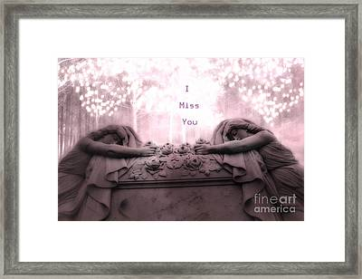 Surreal Gothic Sad Angels Cemetery Mourners At Grave - I Miss You Framed Print