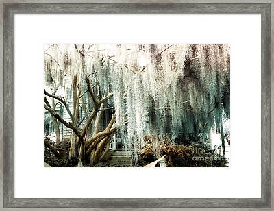 Surreal Gothic Savannah House Spanish Moss Hanging Trees - Savannah Mint Green Moss Trees Framed Print by Kathy Fornal