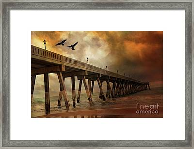 Surreal Haunting Fishing Pier Ocean Coastal - North Carolina Coast Pier  Framed Print