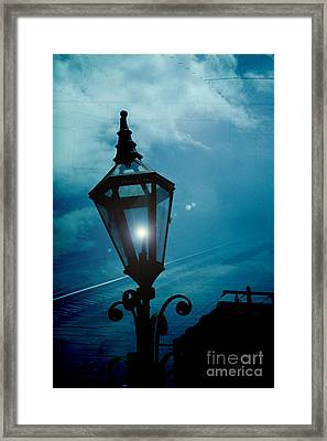 Surreal Haunting Night Lantern Overlooking Railroad Tracks Framed Print by Kathy Fornal