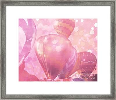 Surreal Hot Air Balloons Fantasy Fairytale Print - Hot Pink Hot Air Balloons Festival Art  Framed Print by Kathy Fornal