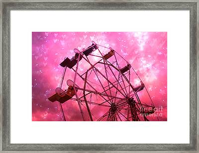 Surreal Hot Pink Ferris Wheel Stars And Hearts Framed Print by Kathy Fornal