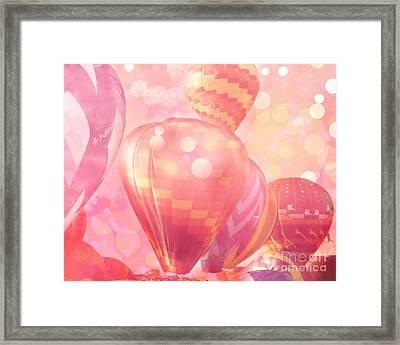 Surreal Hot Pink Orange And Yellow Hot Air Balloons - Hot Air Balloons Festival Fantasy Art Prints Framed Print by Kathy Fornal