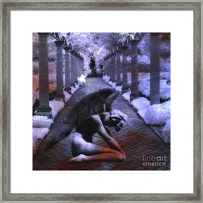 Surreal Infrared Fantasy Angel Art Landscape Framed Print by Kathy Fornal