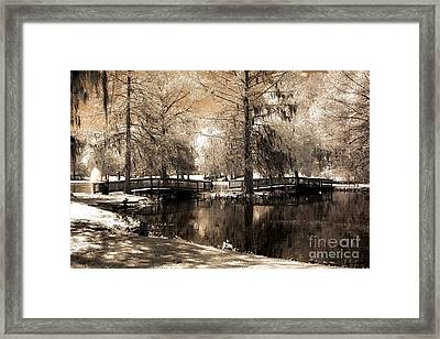 Surreal Infrared Sepia Bridge Nature Landscape - Edisto Gardens Orangeburg South Carolina Framed Print by Kathy Fornal