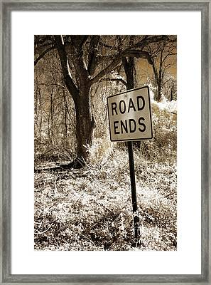 Surreal Infrared Sepia Nature - The Road Ends Framed Print by Kathy Fornal
