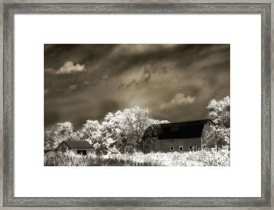 Surreal Infrared Sepia Rural Barn Landscape Framed Print by Kathy Fornal