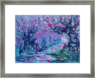 Surreal Landscape Art Pink Flower Tree Painting By Ekaterina Chernova Framed Print