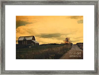 Surreal Michigan Farm Yellow Sky Rural Country Road Barn Landscape Framed Print by Kathy Fornal
