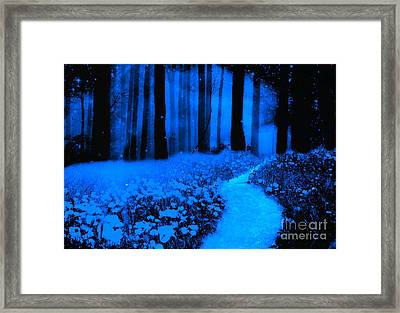 Surreal Moonlight Blue Haunting Dark Fantasy Nature Path Woodlands Framed Print by Kathy Fornal