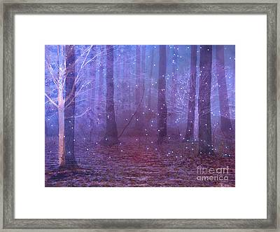 Surreal Nature Fantasy Dreamy Purple Woodlands And Stars - Sparkling Twinkling Stars Purple Trees Framed Print