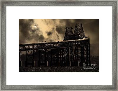 Surreal Night At The Bay Area Richmond-san Rafael Bridge - 7d18536 - Sepia Framed Print