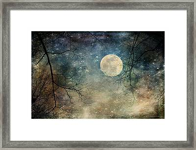 Surreal Night Sky Moon And Stars Framed Print
