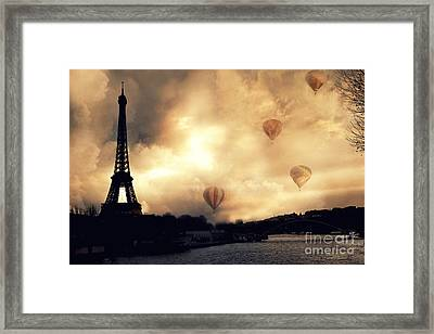 Surreal Paris Eiffel Tower Storm Clouds Sunset Sepia And Hot Air Balloons Framed Print by Kathy Fornal