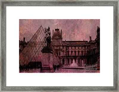Surreal Paris Louvre Museum Architecture Pyramid Framed Print