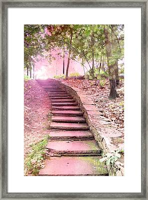 Surreal Pink Fantasy Dream Staircase In Woodlands Forest - Pink Stairs Pathway Framed Print