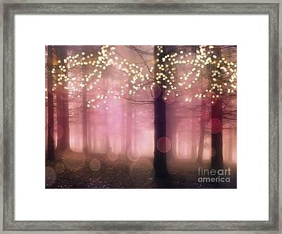 Surreal Pink Fantasy Fairy Lights Sparkling Nature Trees Woodlands - Pink Nature Sparkling Lights Framed Print