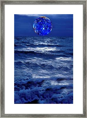 Surreal Planet Rising Over Blu Waters Framed Print by Christian Lagereek