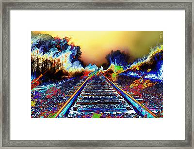Surreal Railroad Tracks In Radioactive Mist Framed Print by Elaine Plesser