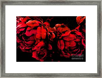 Paris Red Peonies -valentine Red And Black Surreal Flower Peony Art  - Paris Red Black Peony Decor Framed Print by Kathy Fornal
