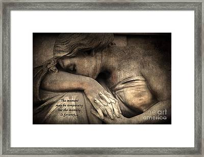 Surreal Sad Angel Cemetery Mourners At Grave With Inspirational Message Of Memories Framed Print by Kathy Fornal