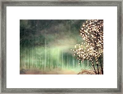 Surreal Sparkling Fantasy Nature - Green Sparkling Lights Trees Forest Woodlands Framed Print by Kathy Fornal