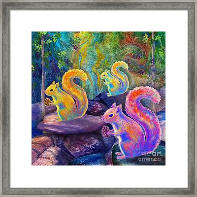Surreal Squirrels In Square Framed Print