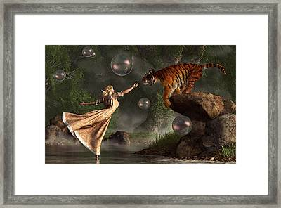 Surreal Tiger Bubble Waterdancer Dream Framed Print