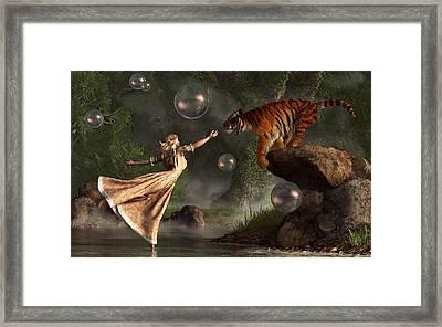 Surreal Tiger Bubble Waterdancer Dream Framed Print by Daniel Eskridge