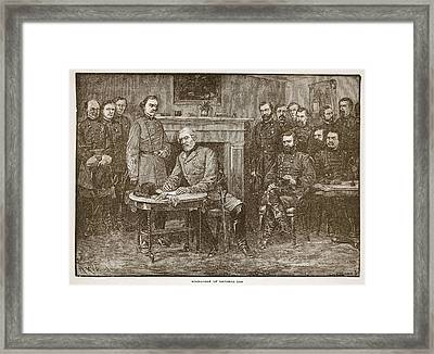 Surrender Of General Lee Framed Print by Alfred R Waud