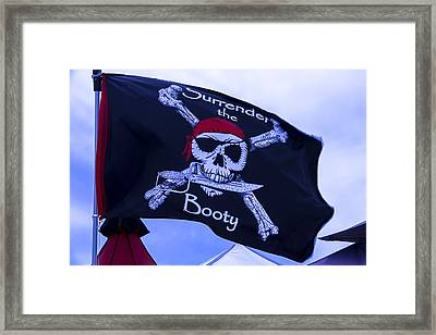 Surrender The Booty Pirate Flag Framed Print by Garry Gay