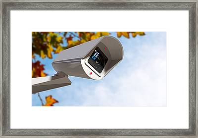 Surveillance Camera In The Daytime Framed Print