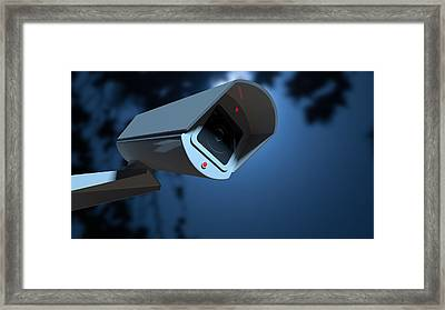 Surveillance Camera In The Night-time Framed Print