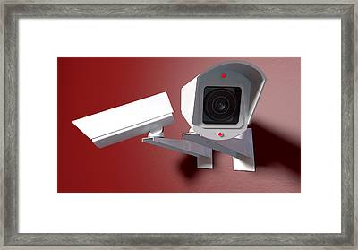 Surveillance Cameras On Red Framed Print by Allan Swart
