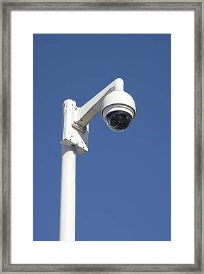 Surveillance Cctv Camera Framed Print by Alex Bartel