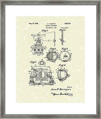Surveying Instrument 1933 Patent Art Framed Print by Prior Art Design