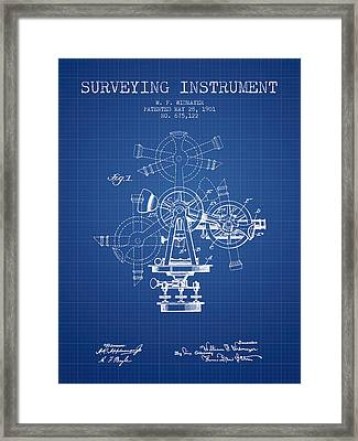 Surveying Instrument Patent From 1901 - Blueprint Framed Print