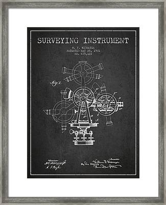 Surveying Instrument Patent From 1901 - Charcoal Framed Print by Aged Pixel
