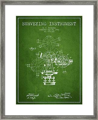 Surveying Instrument Patent From 1901 - Green Framed Print by Aged Pixel