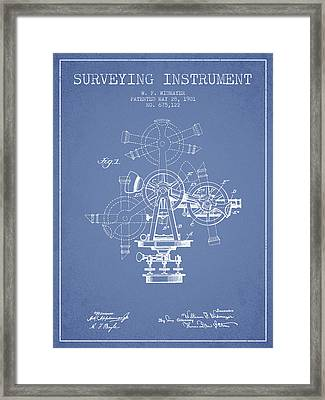 Surveying Instrument Patent From 1901 - Light Blue Framed Print by Aged Pixel
