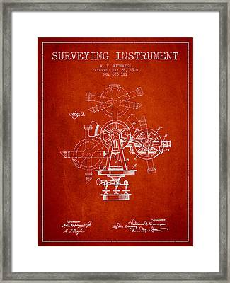 Surveying Instrument Patent From 1901 - Red Framed Print