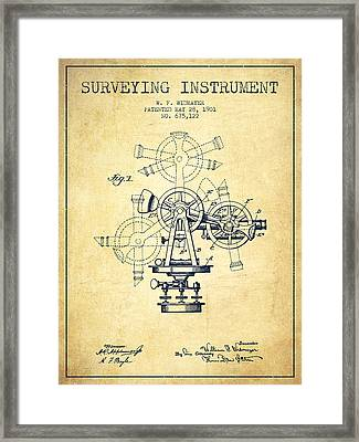 Surveying Instrument Patent From 1901 - Vintage Framed Print by Aged Pixel