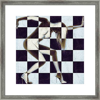 Survive Nude Woman Checkered 2 Framed Print by Tony Rubino