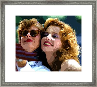 Susan Sarandon And Geena Davies Alias Thelma And Louis - Watercolor Framed Print