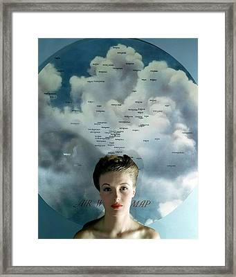 Susan Shaw In Front Of An Azimuthal Map Framed Print by John Rawlings