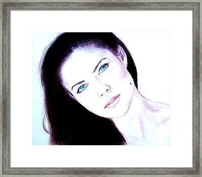 Susan Ward Blue Eyed Beauty With A Mole II Framed Print by Jim Fitzpatrick